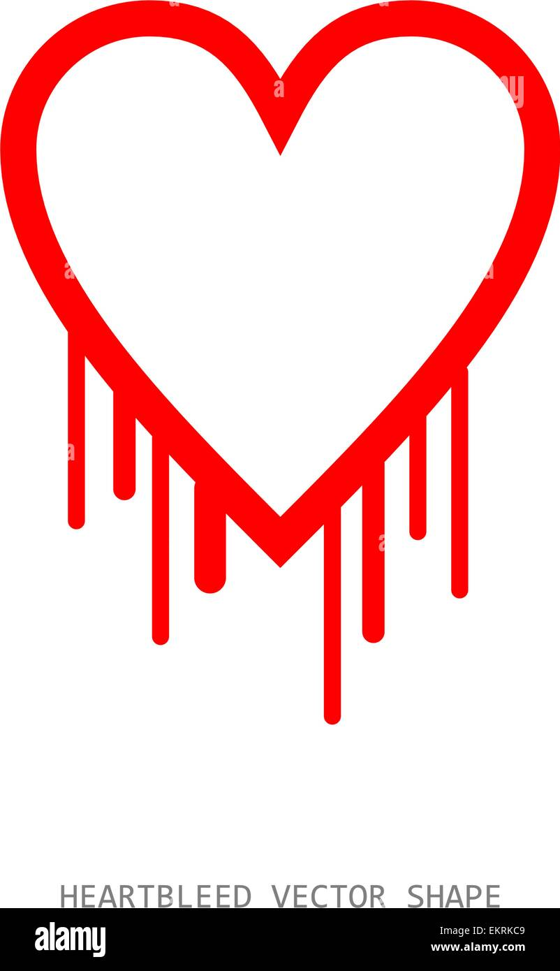 Clean heartbleed openssl bug vector shape, red bleeding heart on white background - Stock Vector