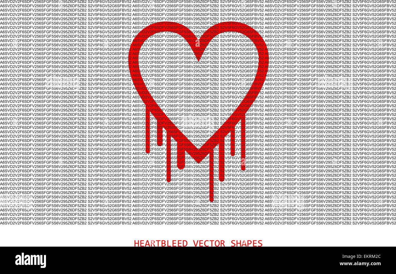 Heartbleed openssl bug vector shape, bleeding heart with wall of text in front - Stock Vector