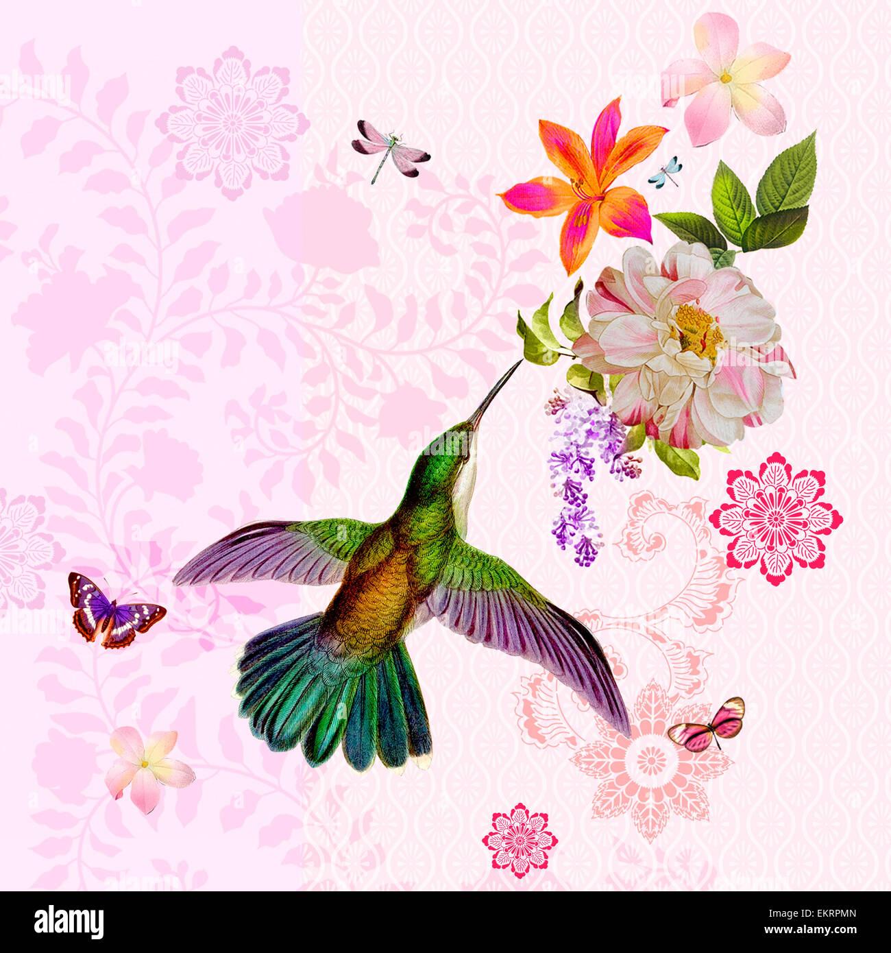 Exotic Bird Flowers Illustration Paper Ornament Graphic Art