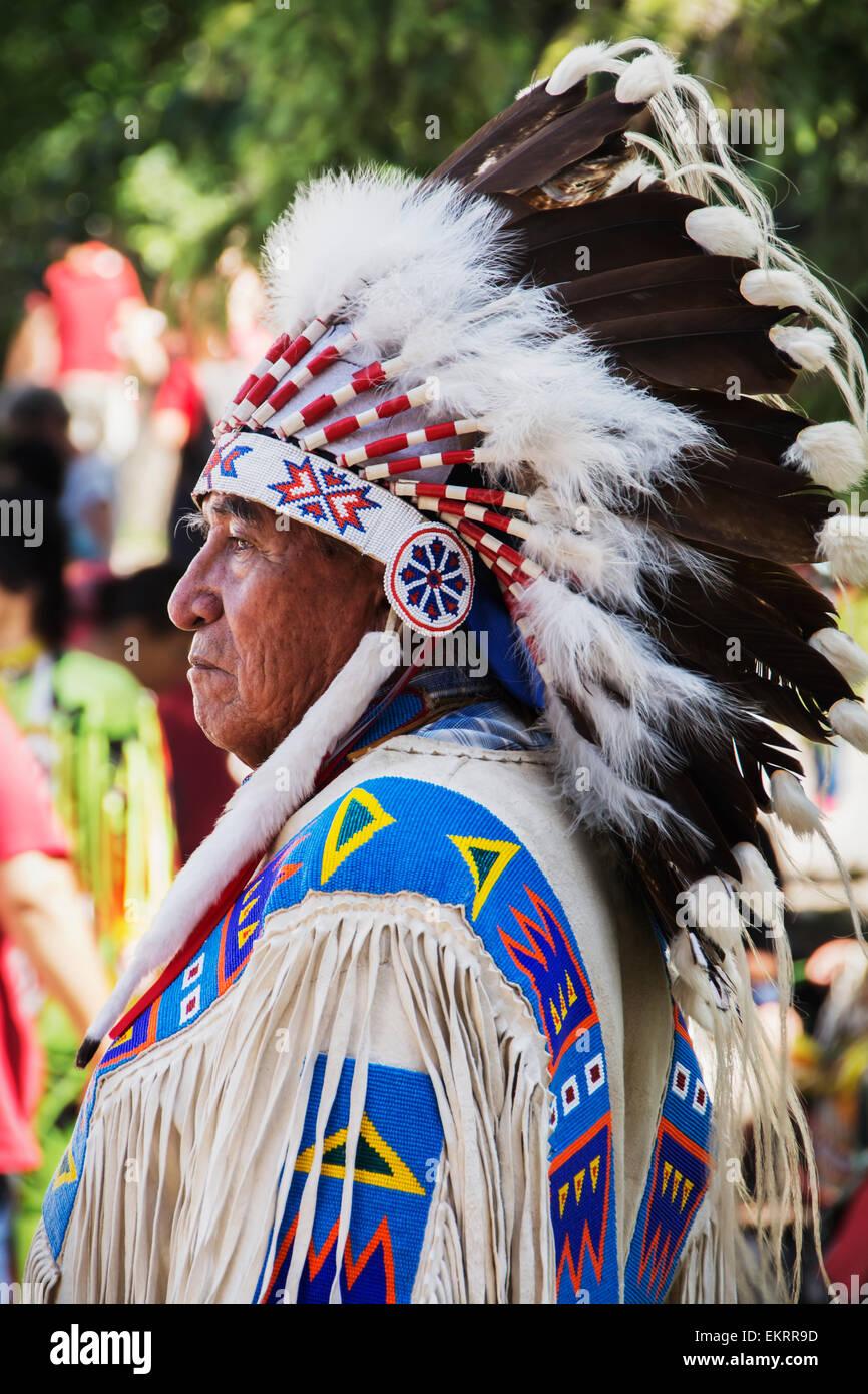 Side portrait of a Native American tribal chief; Calgary, Alberta, Canada - Stock Image