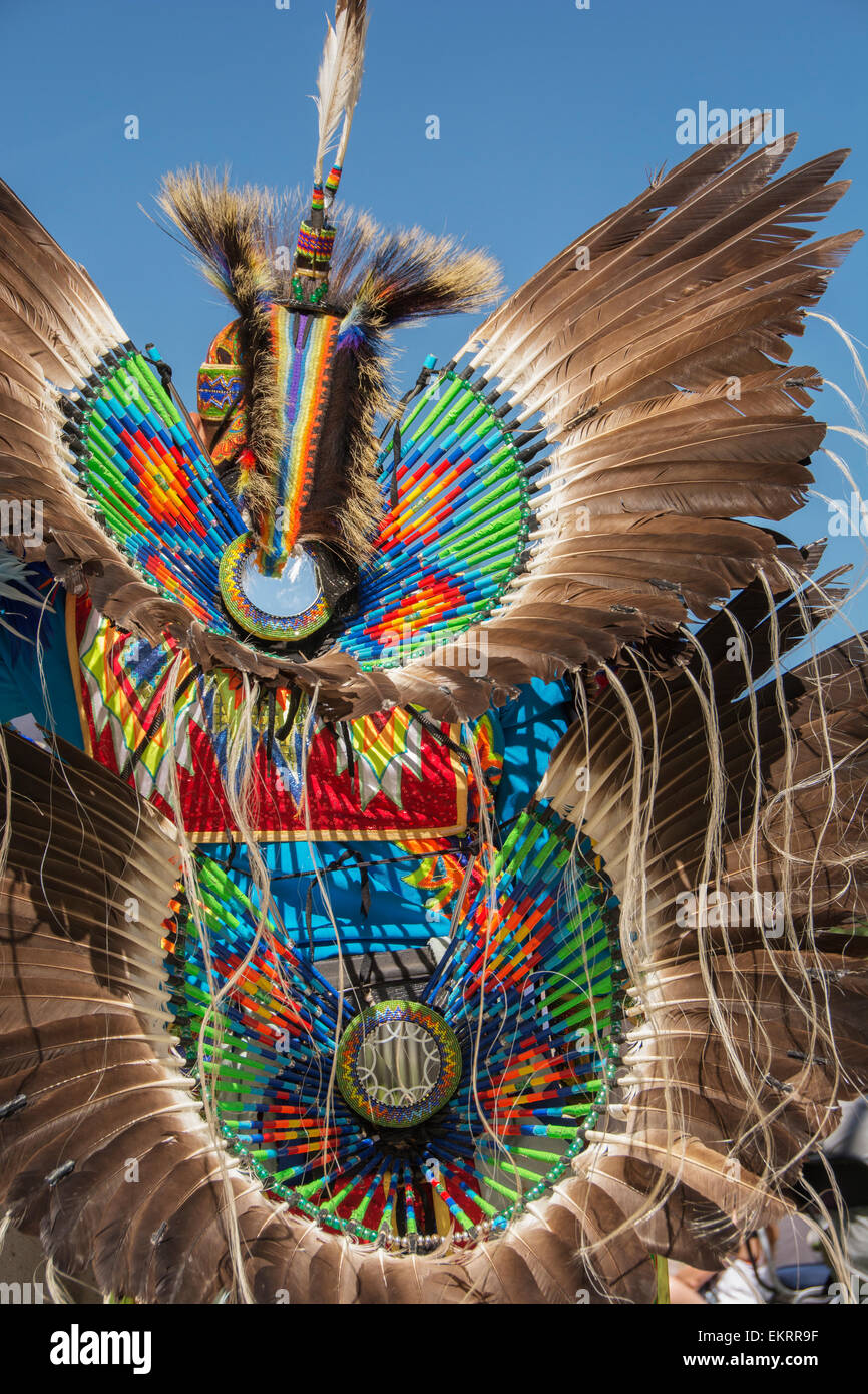 Native American headdress of colourful beads and feathers; Calgary, Alberta, Canada - Stock Image