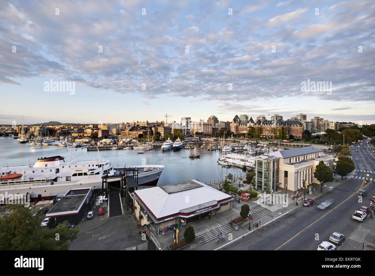 Ferry in Victoria Harbour; Victoria, Vancouver Island, Canada - Stock Image