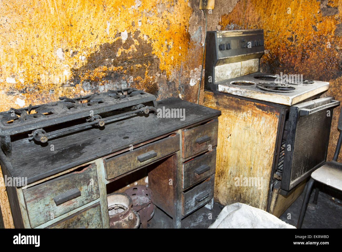 A filthy kitchen in Zomba in Malawi, Africa. - Stock Image