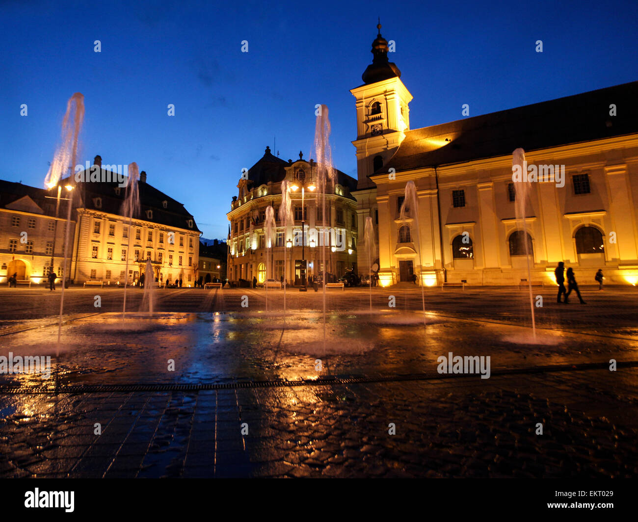 Sibiu main square at night - Stock Image