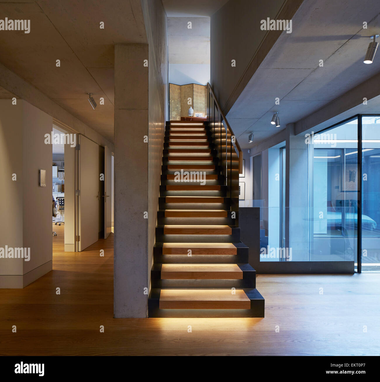 Entrance Hall With Staircase And Office Corridor. Levring House, London,  United Kingdom. Architect: Jamie Fobert Architects, 201