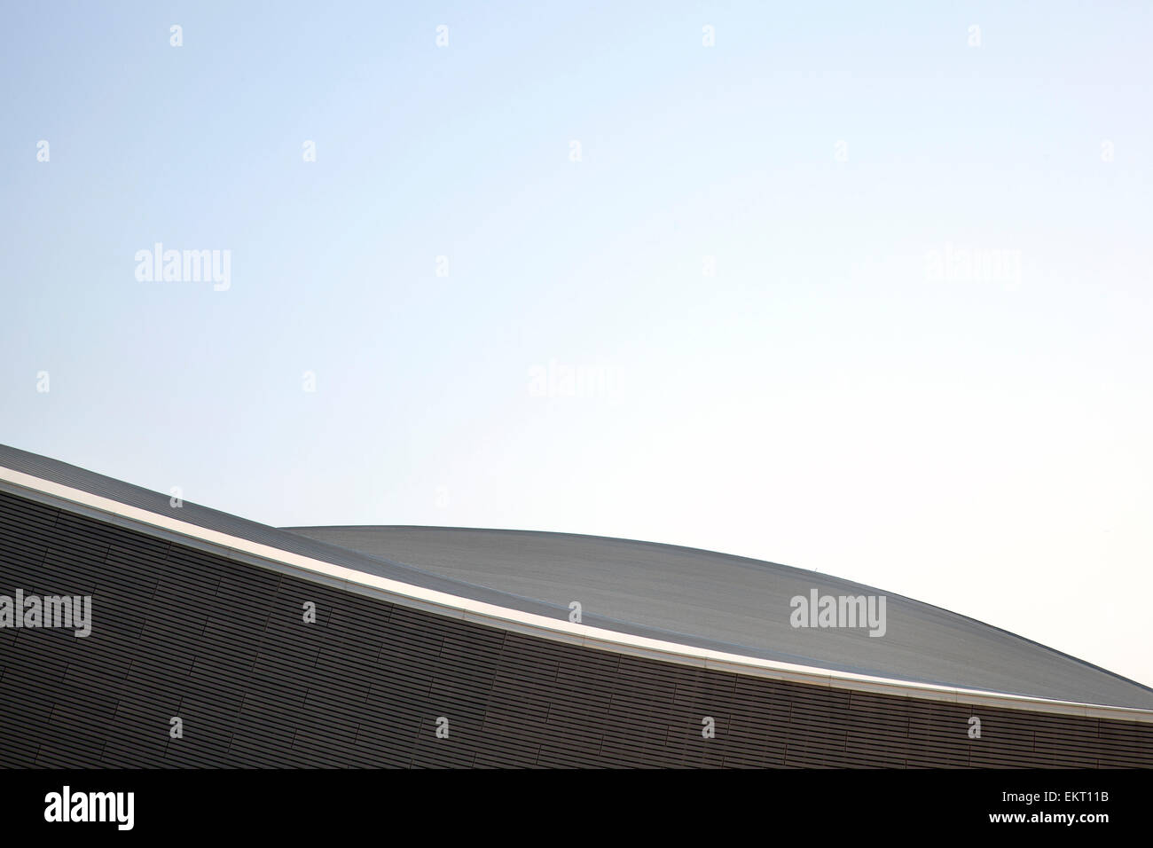 Exterior detail showing the precise wood panel facade against clear sky. London 2012 Aquatics Centre, Stratford, - Stock Image