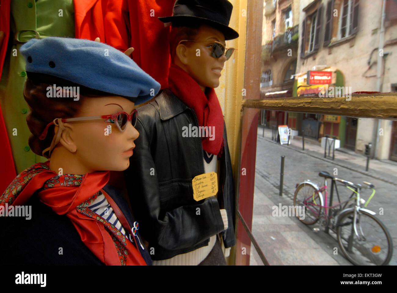 Shop Groucho Vintage Retro Rue Peyrolières Toulouse Midi-Pyrénées France - Stock Image