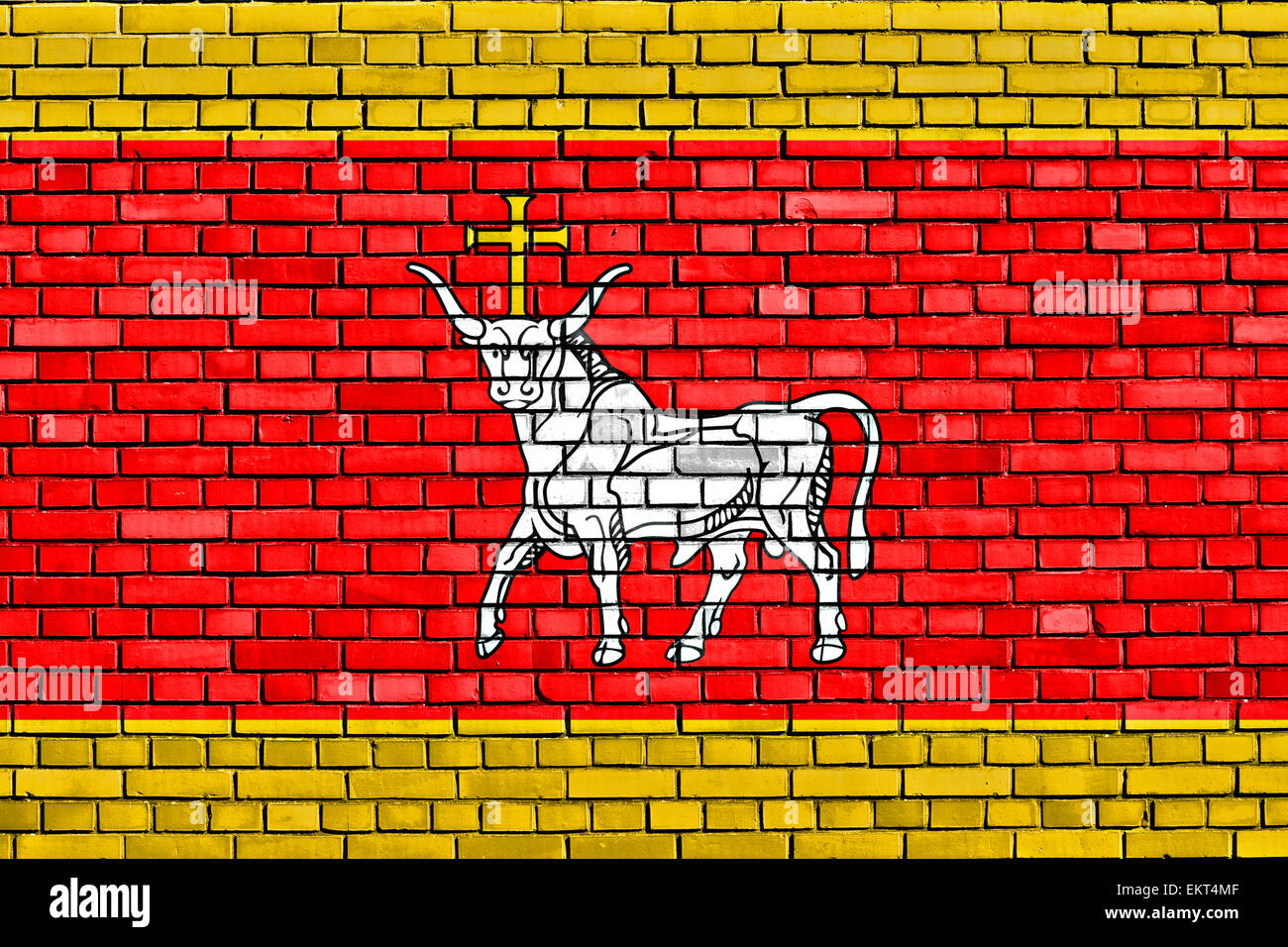 flag of Kaunas painted on brick wall - Stock Image