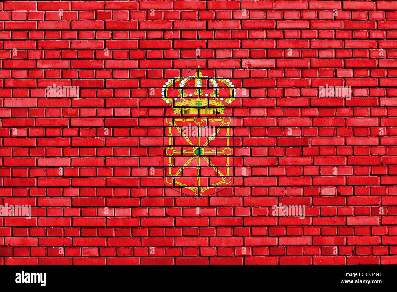 flag of Navarre painted on brick wall Stock Photo