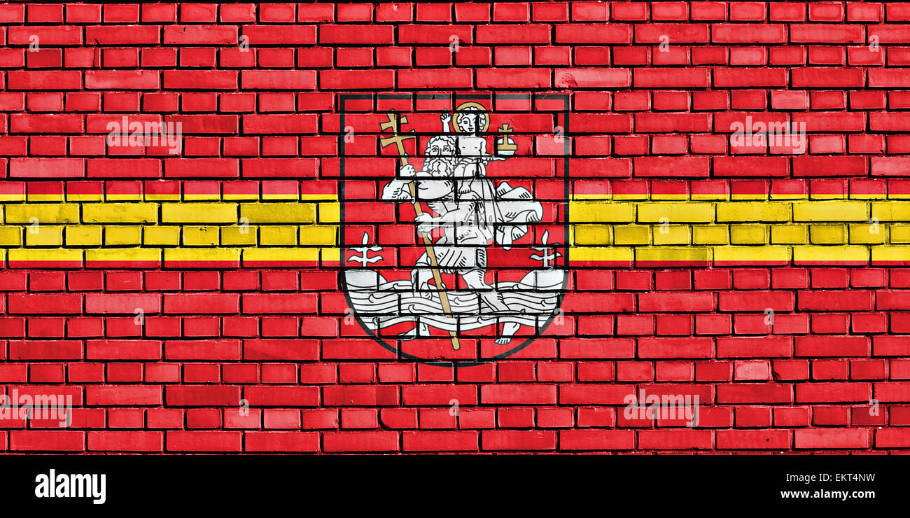 flag of Vilnius painted on brick wall - Stock Image