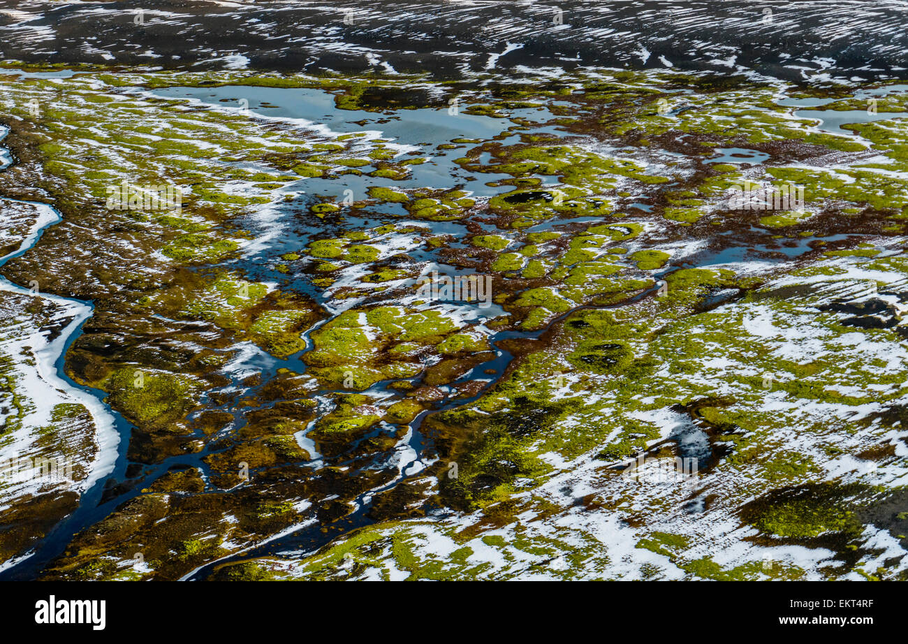 Aerial of view of  Dyngjusandur sands by Dyngjujokull glacier, Iceland.  Area close to Holuhraun and Bardarbunga - Stock Image