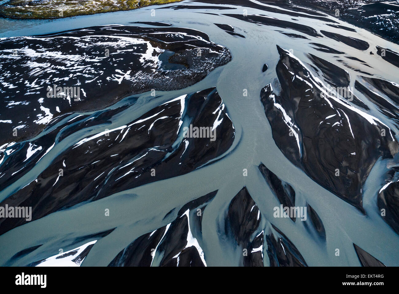 Aerial of view of rivers, Dyngjusandur sands by Dyngjujokull glacier, Iceland.  Area close to Holuhraun and Bardarbunga - Stock Image