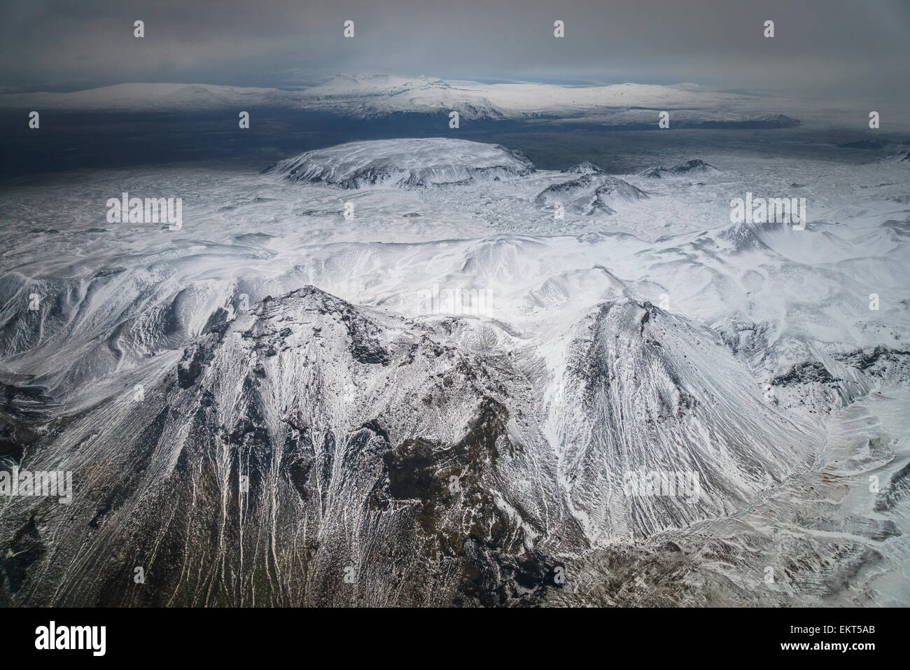 Aerial of view of  Dyngjujokull glacier, Iceland.  Area close to Holuhraun and Bardarbunga Volcano. - Stock Image