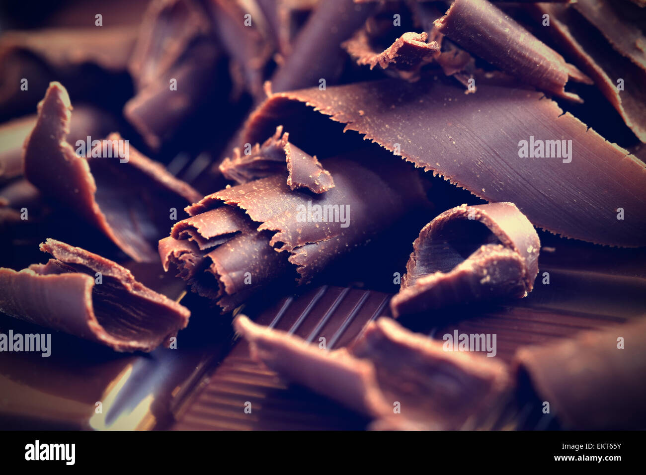 Dark chocolate shavings - Stock Image