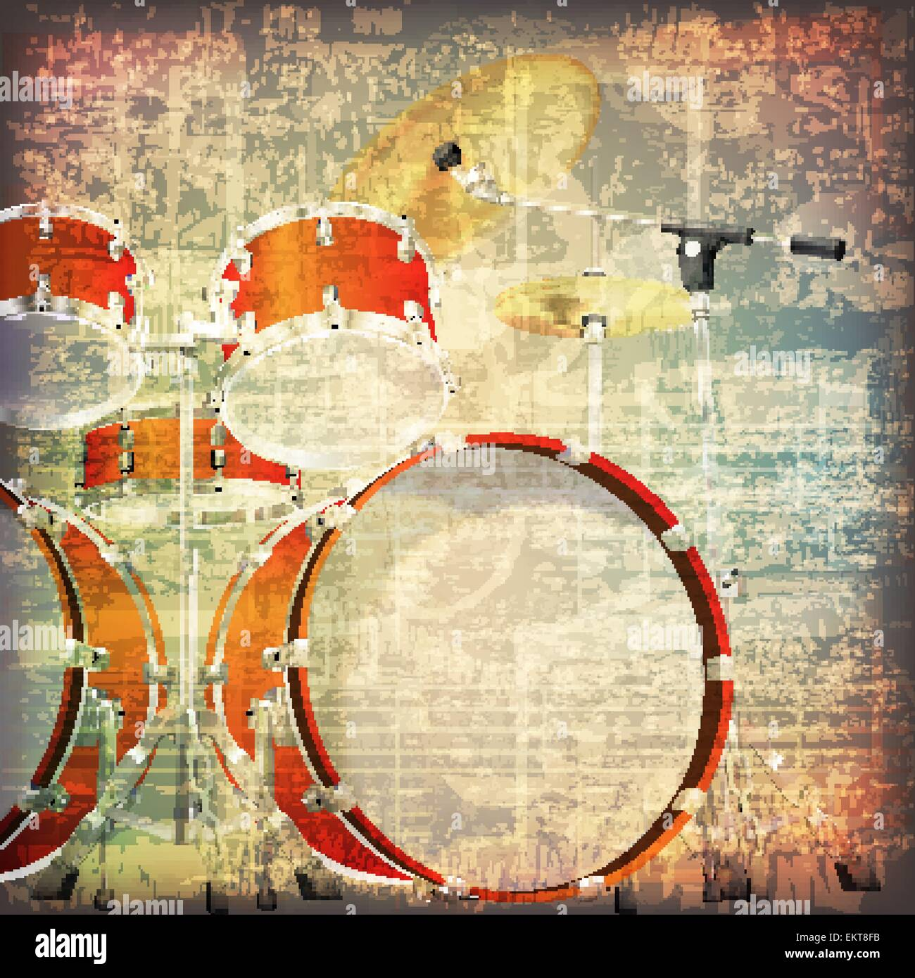 abstract grunge cracked music symbols vintage background with drum ...