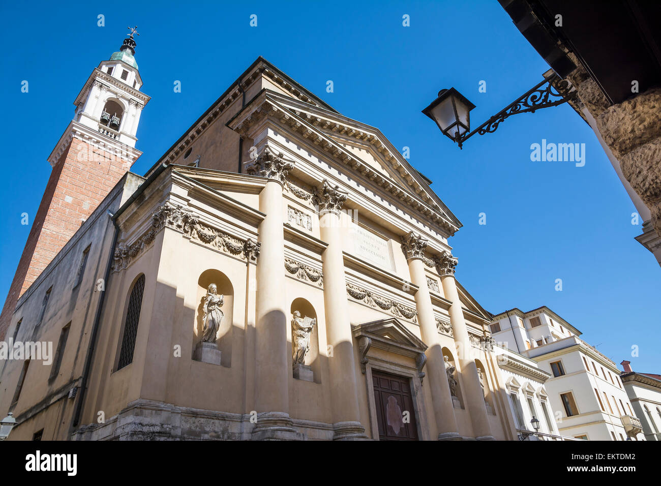 Vicenza,Italy-April 3,2015:view of the churc of San Marcello in Vicenza located on Palladio street during a sunny - Stock Image