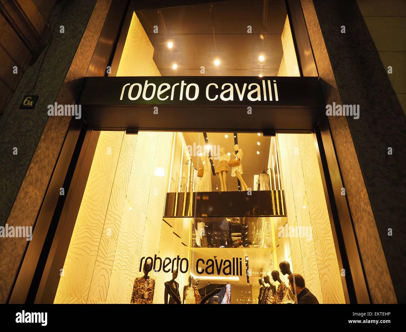 Roberto Cavalli store, Via Montenapoleone street, Milan, Lombardy, Italy, Europe Stock Photo