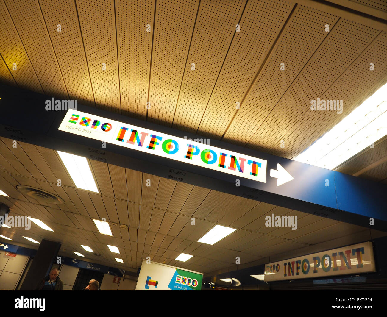 EXPO info point, Linate airport, Expo 2015, Milan, Lombardy, Italy, Europe - Stock Image
