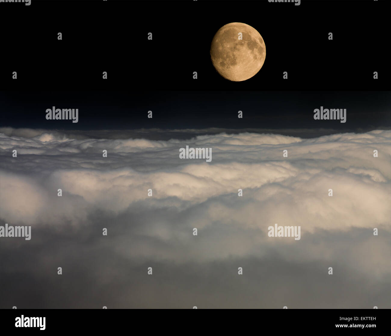 moon over clouds - Stock Image
