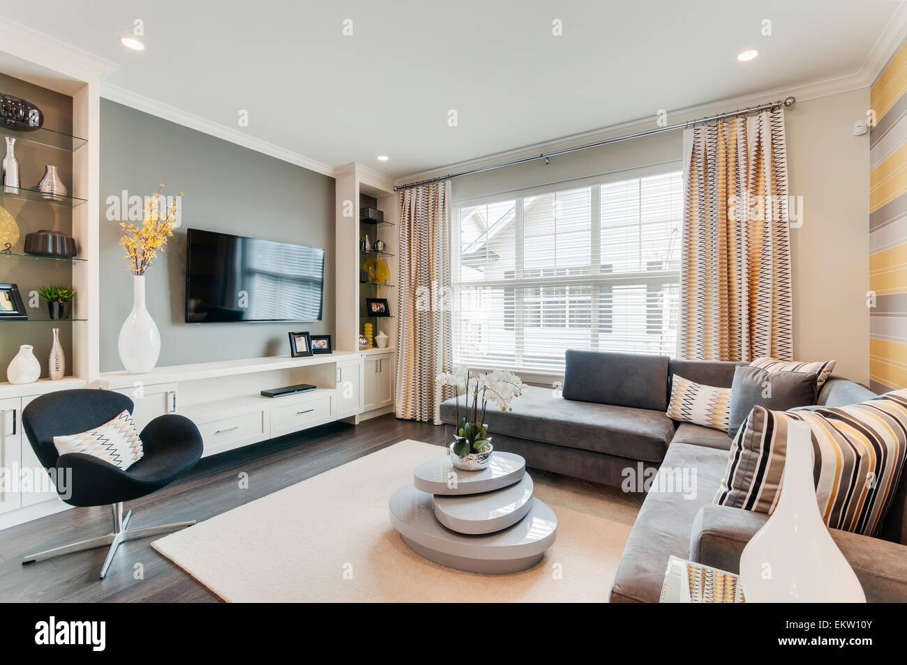 Modern Townhouse Living Room With Tv;Surrey British Columbia Canada
