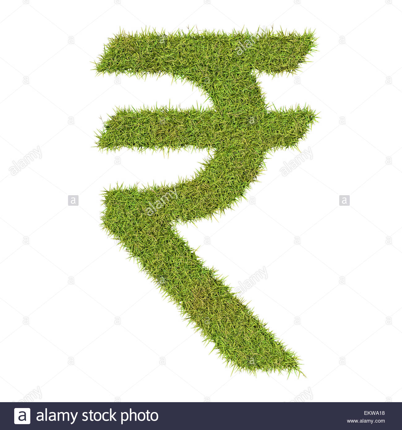 Rupee symbol made from grass symbolising the costs and benefits of green issues and conservation - Stock Image