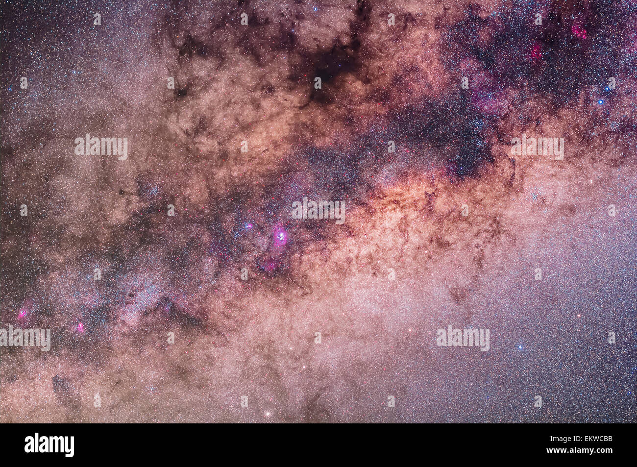 The centre of the galaxy area of the Milky Way toward Sagittarius and Scorpius, with the Sagittarius Star Cloud - Stock Image