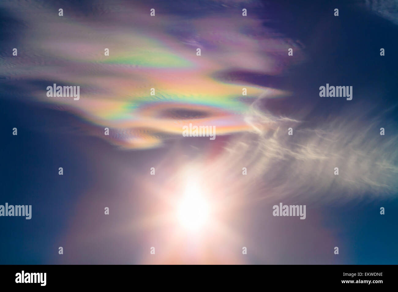 December 10, 2013 - Iridescent clouds near the Sun, taken from White Sands National Monument, New Mexico prior to - Stock Image