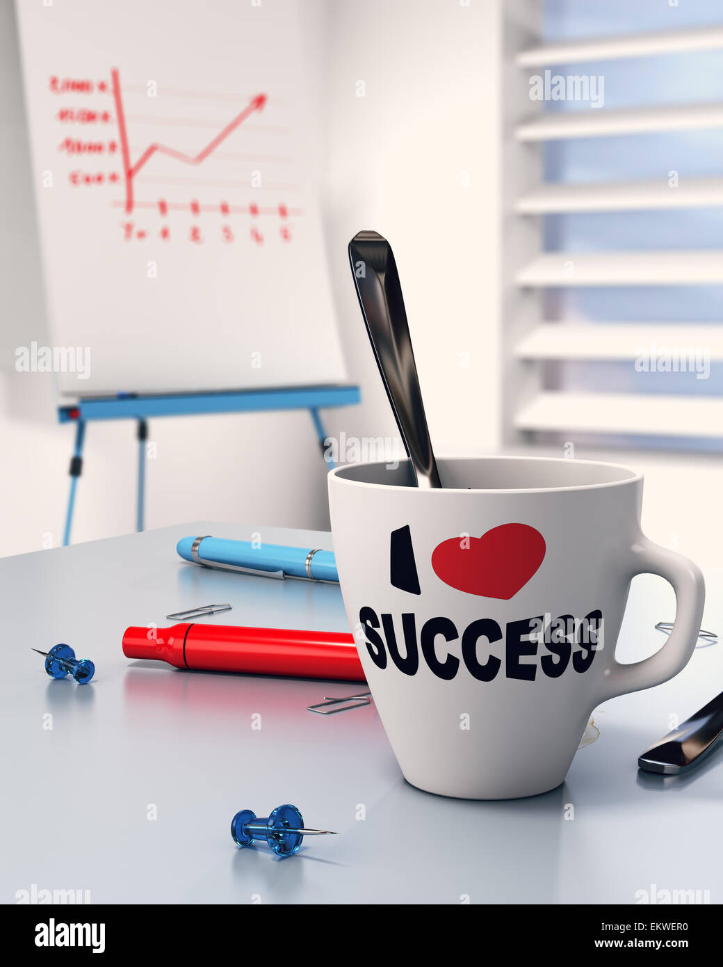 Mug with the text i love success office table and flipchart with diagram. Concept of successful executive. - Stock Image