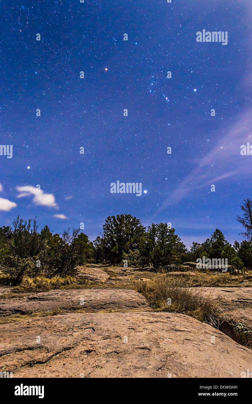 January 27, 2015 - Orion and Sirius rising in the moonlight over the rocky landscape of the Gila National Forest Stock Photo