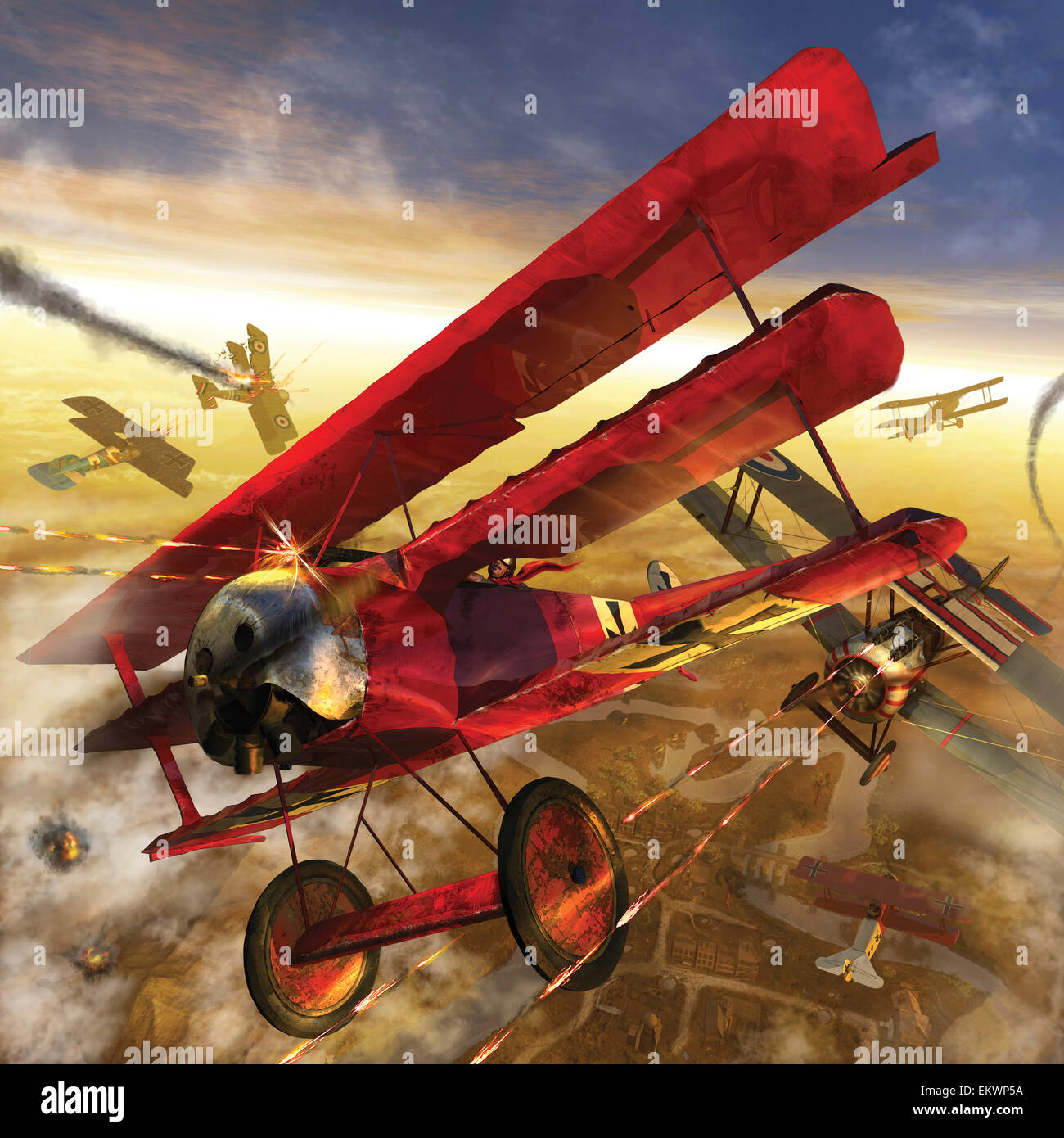 German triple wing bi-plane The Red Baron. World War I western front air assault. - Stock Image