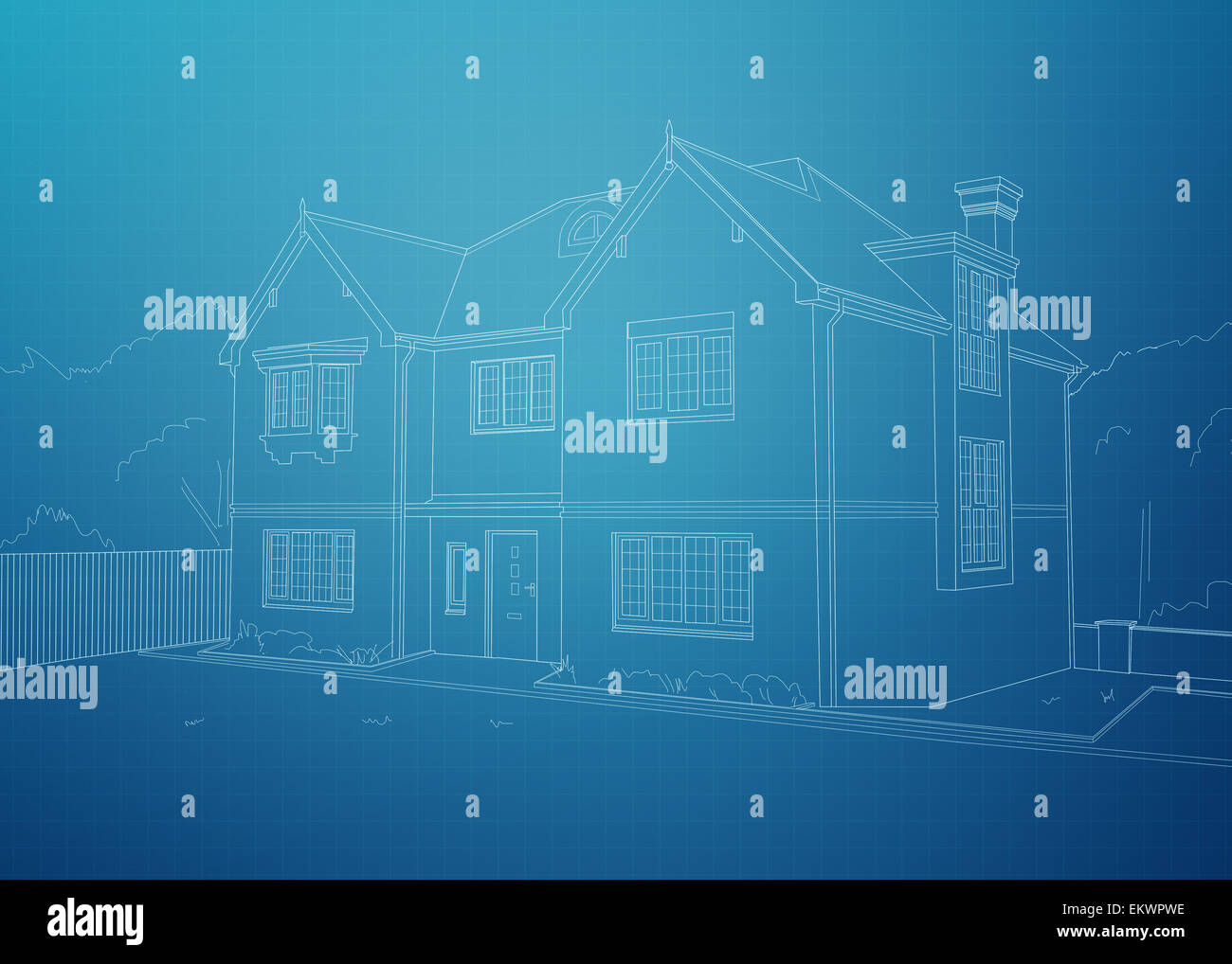Modern House Blueprint. White Outline Of Home On A Blue Background Grid.    Stock
