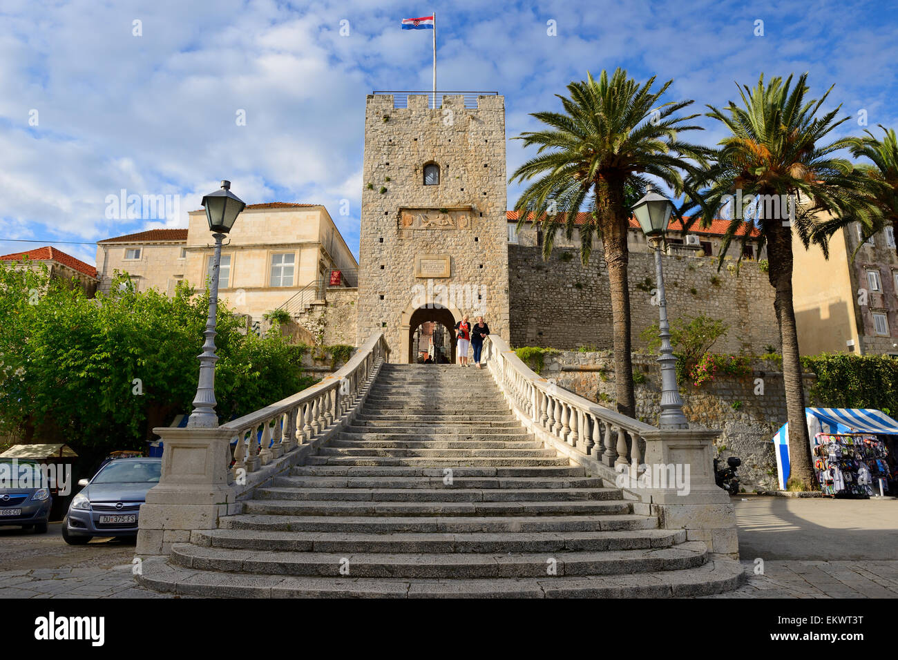 Land Gate and Revelin Tower, main entrance to old town of Korcula on Dalmatian Coast of Croatia - Stock Image
