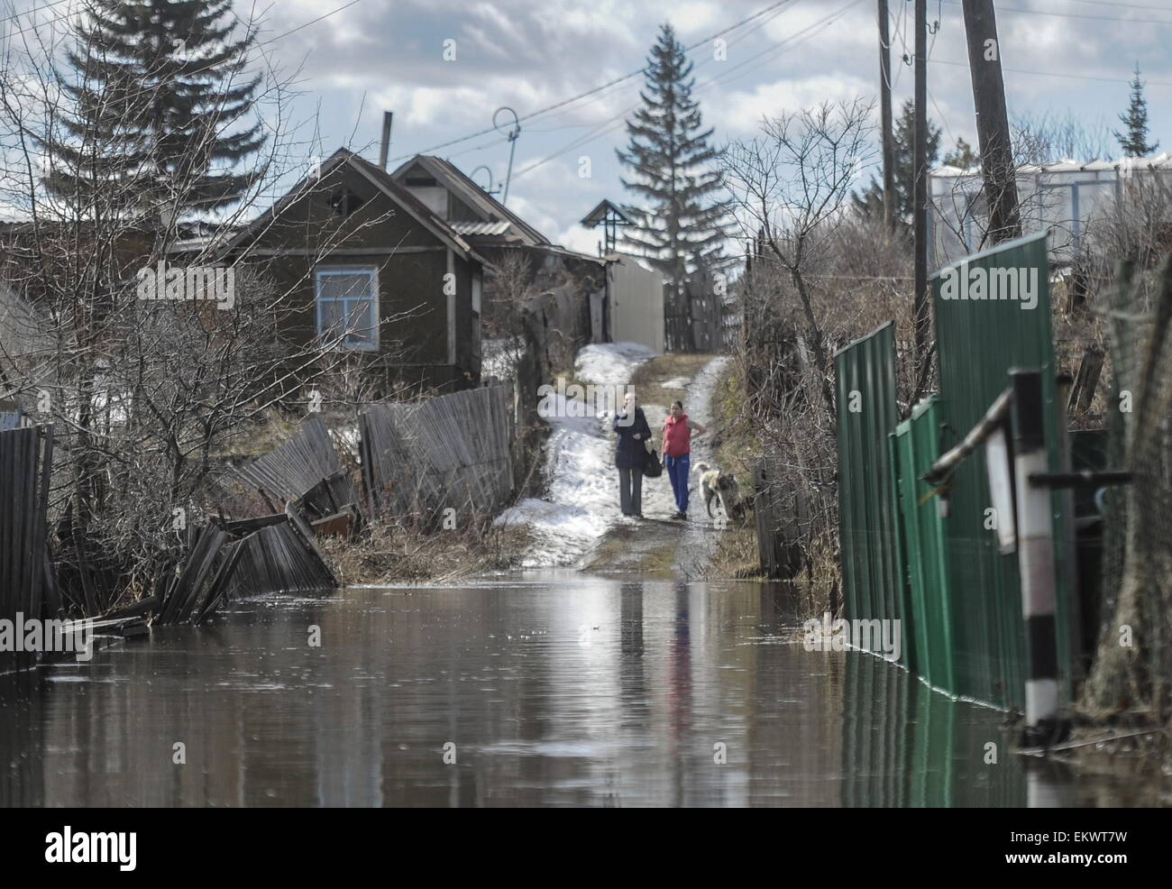 Novosibirsk Region, Russia. 14th Apr, 2015. Dachas (summer houses) in a flooded area. The flooding occurred after - Stock Image
