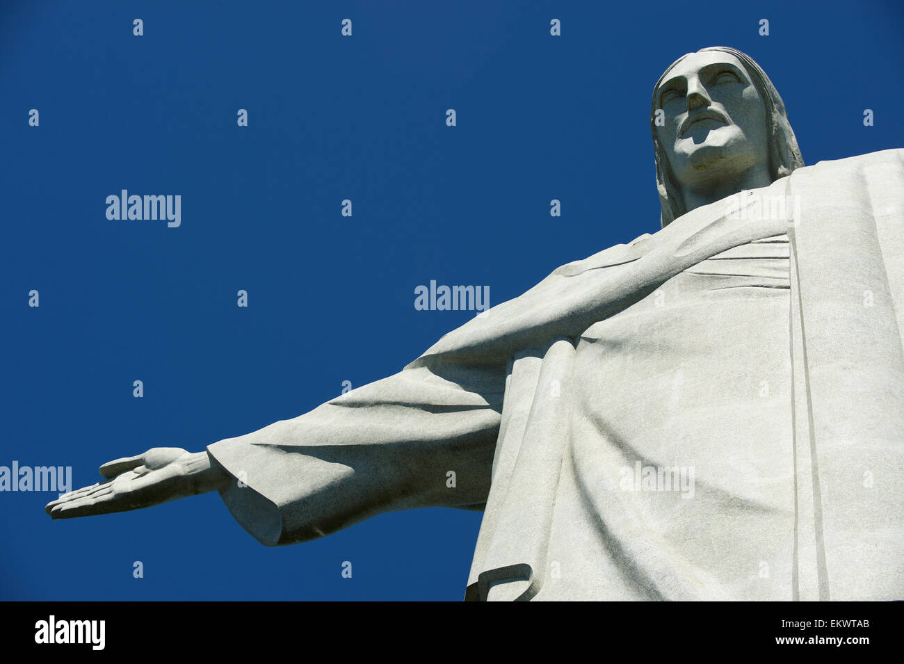RIO DE JANEIRO, BRAZIL - MARCH 05, 2015: Close-up of the statue of Christ the Redeemer at Corcovado against bright - Stock Image