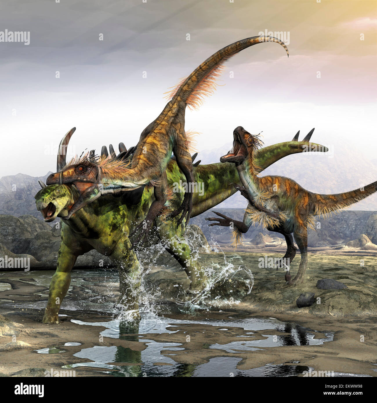A Utahraptor manages to slip through a Gigantspinosaurus's armor with a throat kill. - Stock Image