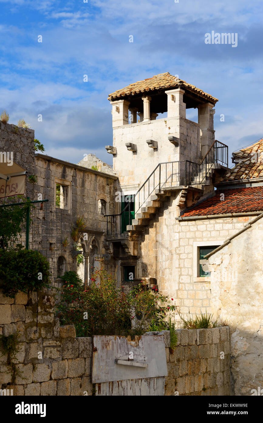 Marco Polo Tower in old town of Korcula on Dalmatian Coast of Croatia - Stock Image