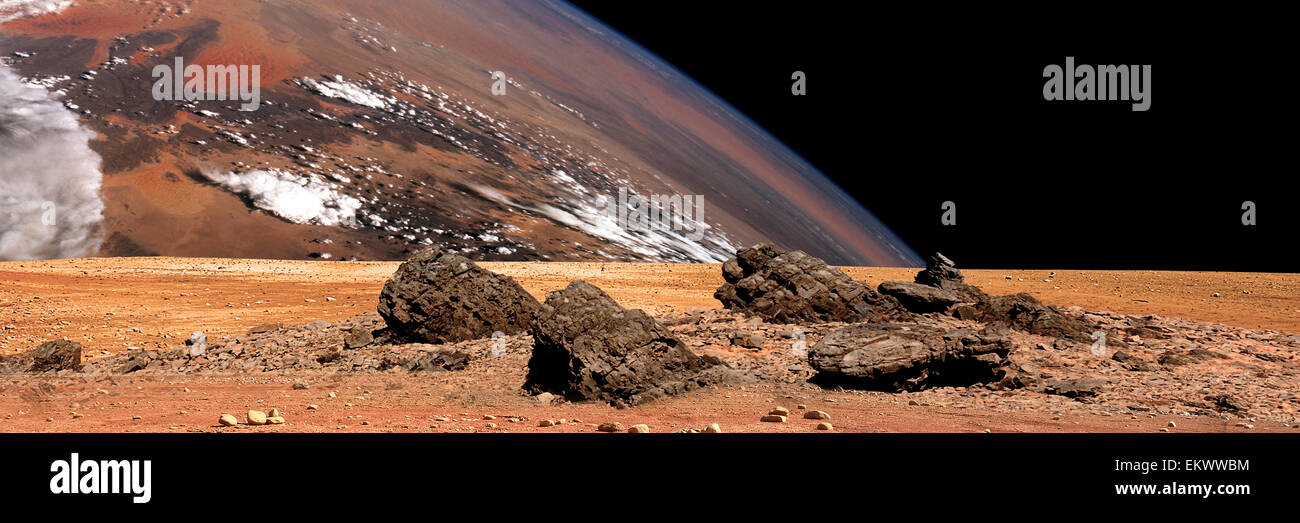 A panoramic view of the surface of a rocky and barren alien world. A large cloud covered planet rises over the airless - Stock Image