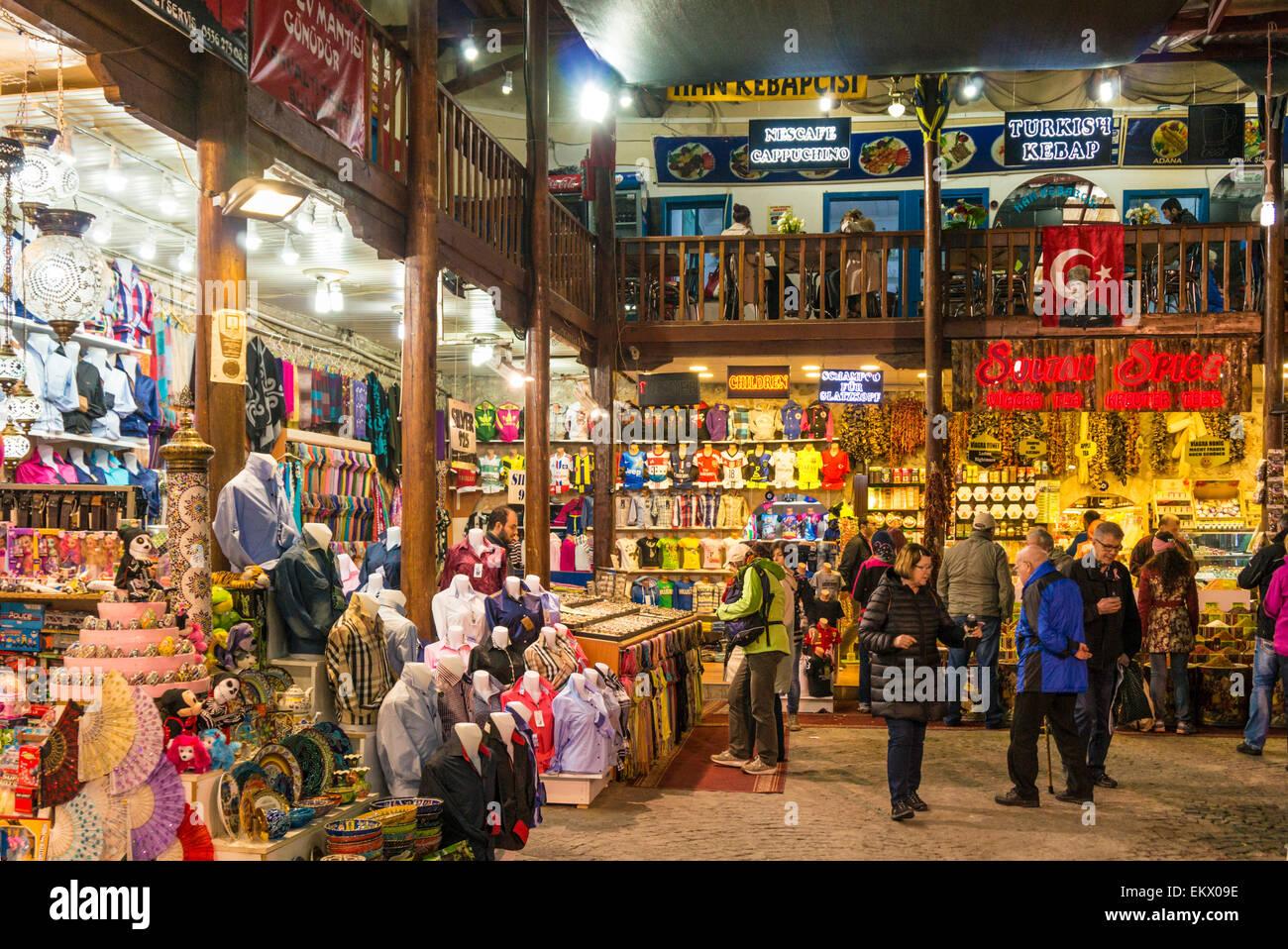 Shopping in the traditional Bazaar or market, Antalya old town, Antalya, Mediterranean Region, Turkey - Stock Image