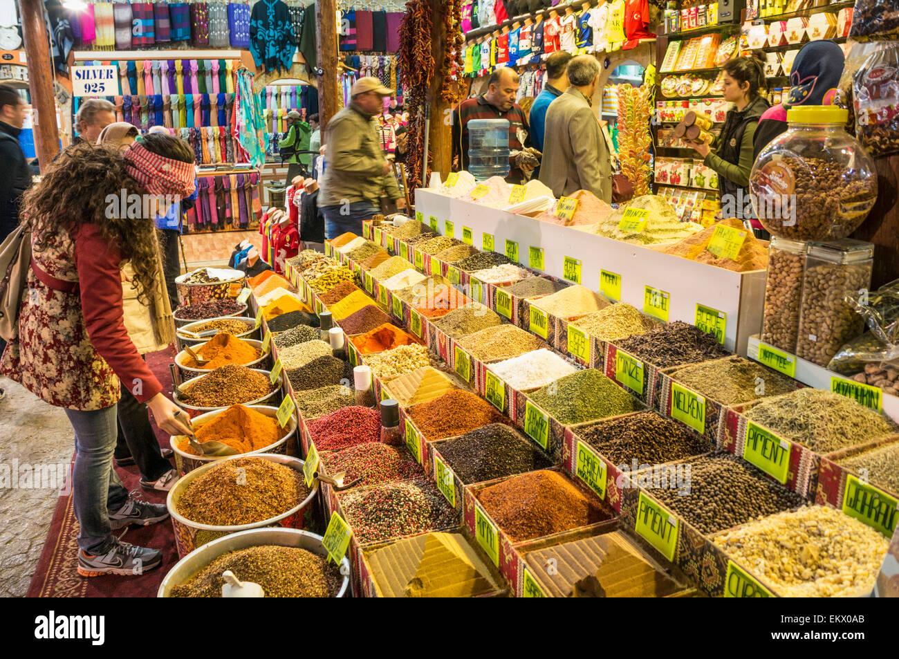 Shopping in the traditional spice market or Bazaar, Antalya old town, Antalya, Mediterranean Region, Turkey - Stock Image