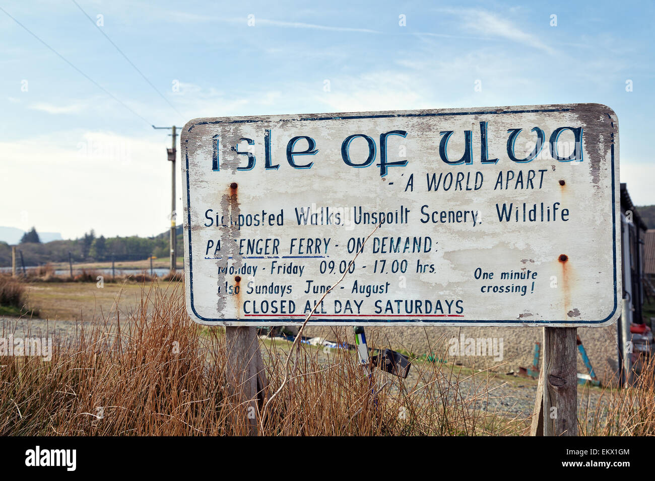 Isle of Ulva, Scotland : abandoned tourist signboard - Stock Image