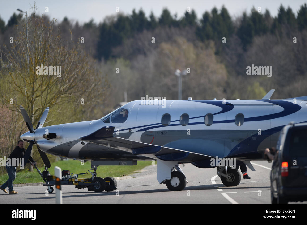 Messe Friedrichshein, Germany. 13th Apr, 2015. A PC-12, a single-engine turboprop aircraft produced by Swiss manufacturer - Stock Image