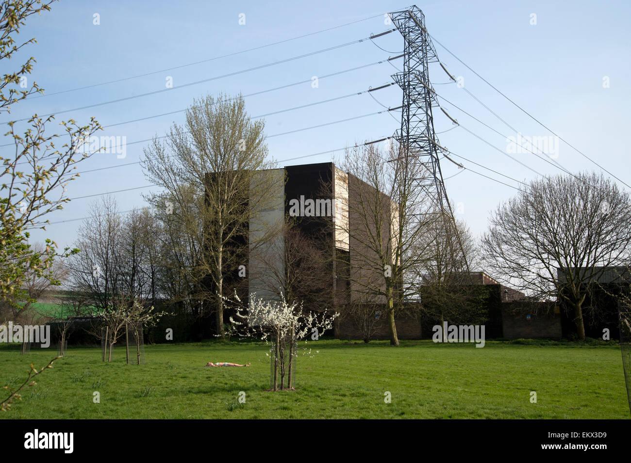 Hackney Spring 2015. Sunbather and spring blossom, Millfields Park - Stock Image