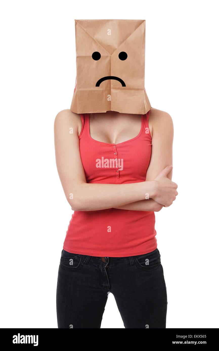 sad paper bag woman - Stock Image