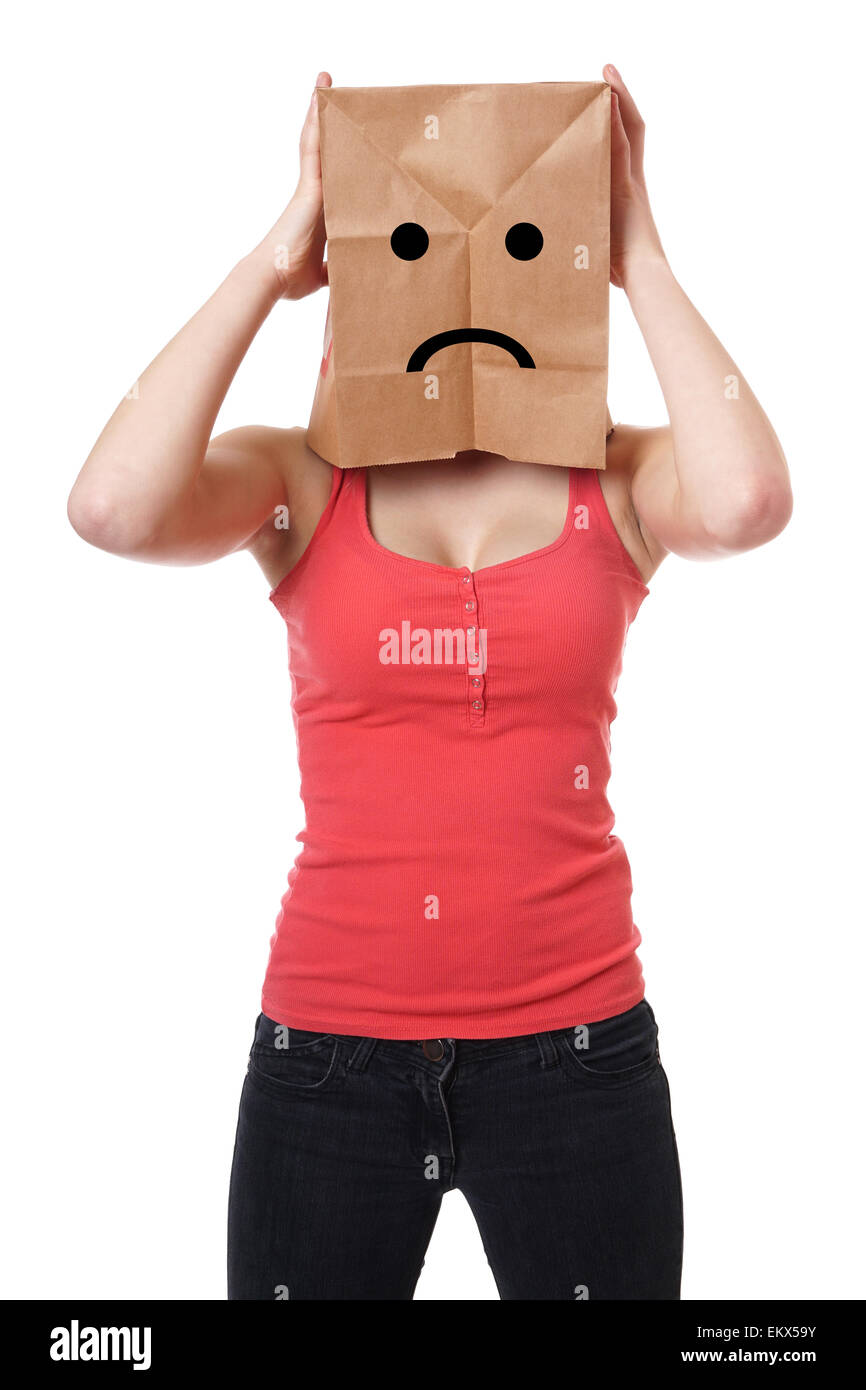 unhappy paper bag girl - Stock Image