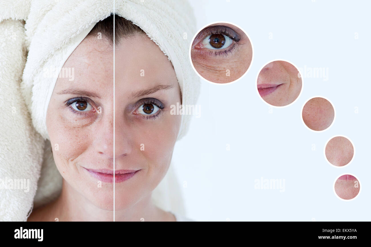 Beauty concept - skin care, anti-aging procedures, rejuvenation, lifting, tightening of facial skin - Stock Image