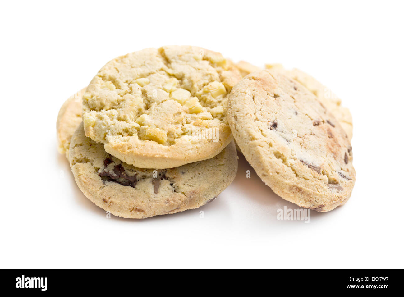 chocolate cookies on white background - Stock Image