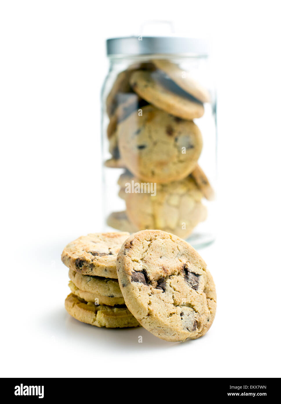 the pile of chocolate cookies - Stock Image