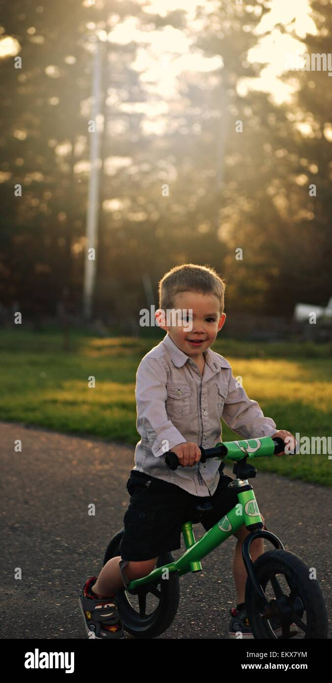 fcd0ce6712b Handsome 3 year old boy riding green strider bike in the evening. - Stock  Image