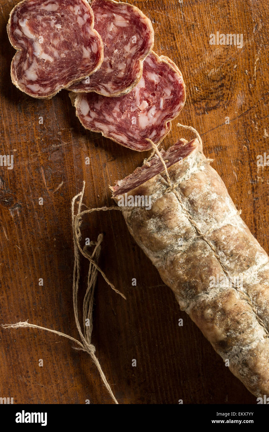 Sliced salame from Basilicata, Italy - Stock Image