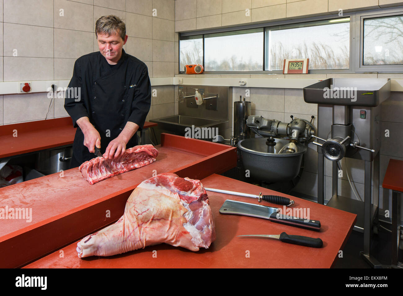 Butcher / meat cutter prepares primal cuts into a variety of smaller segments for retail - Stock Image
